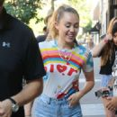 Miley Cyrus in Denim Shorts – Out in NYC - 454 x 681