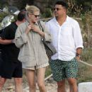 Ronaldo cuts a casual figure in white shirt and green shorts as he enjoys romantic holiday to Spanish island with model girlfriend Celina Locks - 454 x 622