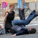 Jessica Chastain and James McAvoy on the set of 'The Dissappearance of Eleanor Rigby' (August 3)