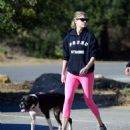 Kate Upton in Pink Tights – Out on a hike with her dog in LA