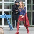 "Melissa Benoist – Filming ""Supergirl"" in Vancouver 02/13/2018"