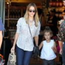Jessica Alba: picked out some flowers at the market in Brentwood