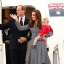 Catherine, Duchess of Cambridge and Prince George of Cambridge depart Australia from Defence Establishment Fairbairn in Canberra, Australia (April 25, 2014)