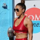 Jennifer Lopez in Red Gym Outfit – Arriving to a gym in Miami
