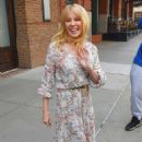 Kylie Minogue in Floral Print Dress out in New York City - 454 x 683