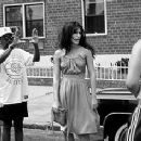 Director Spike Lee and Jennifer Esposito on the set of Summer Of Sam