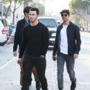 Joe & Kevin Jonas meet some friends for lunch in Los Angeles, California on January 9, 2015 - 454 x 563