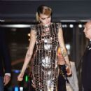 Cara Delevingne in Gold Metallic Dress at Samsung Space Selfie launch in London