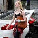 Elle Fanning in Sports Bra – Leaves the gym in LA