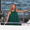 Uma Thurman vacation on a yacht in St. Barts, France on March 24, 2012