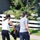 Lea Michele – Goes for a walk with her husband and baby in Brentwood