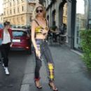 Stella Maxwell abd Kristen Stewart having dinner in Milan