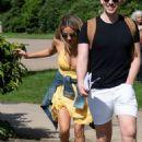 Caroline Flack in Yellow Mini Dress – Out in London - 454 x 676