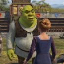 Shrek (MIKE MYERS) receives some interesting news as his friends Puss In Boots (ANTONIO BANDERAS), Donkey (EDDIE MURPHY) and Lancelot (JOHN KRASINSKI) look on — in DreamWorks' SHREK THE THIRD, to be released by Paramount Pictures in May 2007.