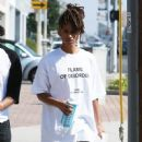 Jaden Smith is spotted shopping on Melrose in Los Angeles, California with a friend on October 14, 2016