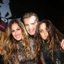 Television personality AJ Celi, musician Billy Duffy and singer Jesse Jo Stark pose at The Viper Room on December 6, 2012 in West Hollywood, California.