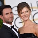 Singer Adam Levine and model Behati Prinsloo attend the 72nd Annual Golden Globe Awards at The Beverly Hilton Hotel on January 11, 2015 in Beverly Hills, California - 454 x 319