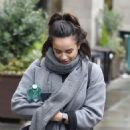 Georgia May Foote in Grey Coat – Out and about in Manchester - 454 x 490