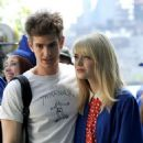 Emma Stone and Andrew Garfield on the set of