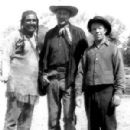 Tony Urchel and stuntman Whitey Hughes pose with Gary Cooper: