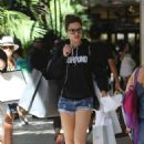 Adriana Lima in Shorts – Christmas Shopping at Ball Harbor in Miami