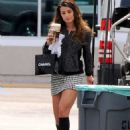 Lea Michele In A Miniskirt On The Set Of Glee