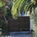General views of Miranda Kerr's mansion in Malibu, California on October 14, 2016. It's being reported that an intruder tried to scale the wall and was confronted by a security guard. The security guard was stabbed in the eye while the intruder was shot i