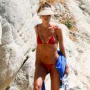 Izabel Goulart in Red Bikini in Mykonos - 454 x 681