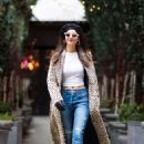 Victoria Justice in Leopard Print Coat Out in NYC