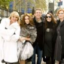 The ladies of Sex and the City; Kim Cattrall (left), Sarah Jessica Parker (center left), Kristin Davis (center right) and Cynthia Nixon (right) with Director Michael Patrick King (center) on the set of New Line Cinema's upcoming release of SEX AND T
