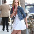 Jenna Bentley Wearing White Dress Out In Beverly Hills