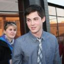 Logan Lerman was spotted being interviewed at CityTV in Vancouver, October 18