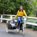 Sophia Bush – Spotted while driving her Dog with a Bike in Los Angeles
