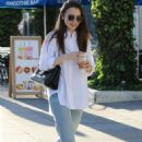 Lily Collins – Leaving a nail salon in Los Angeles