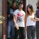 Joe Jonas is seen leaving his office and then enjoying lunch with some friends in West Hollywood, California on September 1, 2015