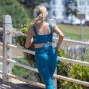 Sophie Monk in Crop Top and Leggins – Jogging in Sydney - 454 x 681