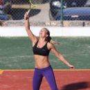 Gemma Atkinson In Tights Playing Tennis In Greece
