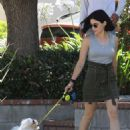 Lucy Hale – Out for a walk with her dog in LA