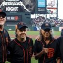 Metallica  stand on the field before the game between the San Francisco Giants and the Chicago Cubs at AT&T Park on August 7, 2017 in San Francisco, California - 454 x 303