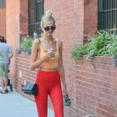 Hailey Clauson in Red Tights – Walking her dog in New York - 454 x 681