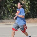 Adam Sandler was spotted playing basketball with his friends in Brentwood, California on October 15, 2016 - 449 x 600