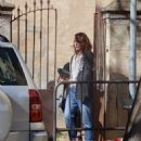 Milla Jovovich – Arriving on set of their new film in Barcelona - 454 x 593