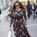 Kelly Brook in Floral Dress – Arriving at Global Radio in London