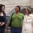 Katie Holmes as Jackie Truman, Queen Latifah as Nina Brewster and Diane Keaton as Bridget Cardigan in Mad Money.