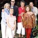 From left to right are the Byrneses, Blythe Danner (Dina), Teri Polo (Pam) and Robert De Niro (Jack) and the Fockers, Dustin Hoffman (Bernie),  Barbra Streisand (Roz) and Ben Stiller (Greg).