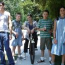 L to R: Peter Stickles as EMT, Benjamin Ross Kaplan as Donny Chandler, Michael Zegen as Eddie, Daniel Manche as David Moran and Spenser Leigh as Denise Crocker in The Girl Next Door.
