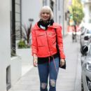 Kimberly Wyatt in Red Jacket – Out in London - 454 x 644