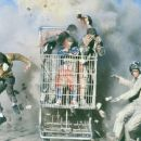 (Left) Dave England, (right) Ehren McGhehey (in shopping cart beginning center clockwise) Jason 'Wee Man' Acuna, and Johnny Knoxville in Paramount's jackass: the movie - 2002
