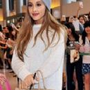 Ariana Grande is seen upon arrival at Narita International Airport in Chiba, Japan