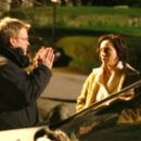 Director Niall Johnson and Kristin Scott Thomas on the set of Keeping Mum - 2006